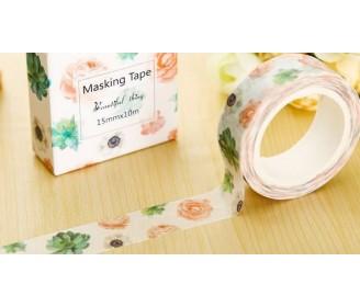 masking tape succulentes et fleurs