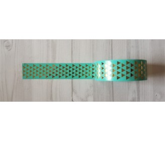 masking tape petits triangles foil or fond turquoise