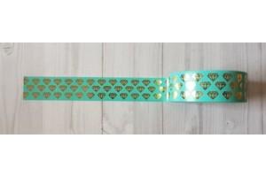masking tape diamants foil or fond turquoise