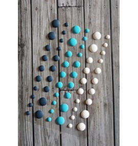 enamel dots mats bleus-blancs