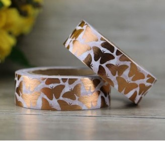 masking tape papillons foil or rose