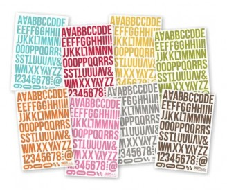 SN@P stickers alphabet bold colors