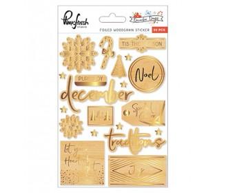 Pinkfresh Studio December Days foiled woodgrain stickers