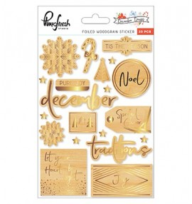 Pinkfresh Studio December Days foiled woodgrain stickers