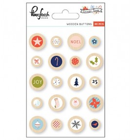 Pinkfresh Studio December Days wooden buttons