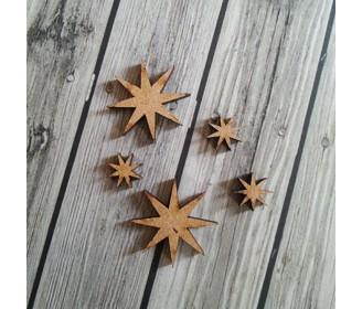 lot de 5 étoiles 8 branches