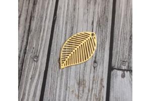 breloque mini feuille or