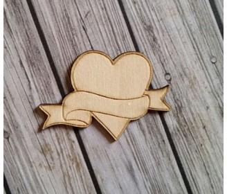 coeur bannière bois