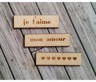 lot 3 étiquettes amour bois